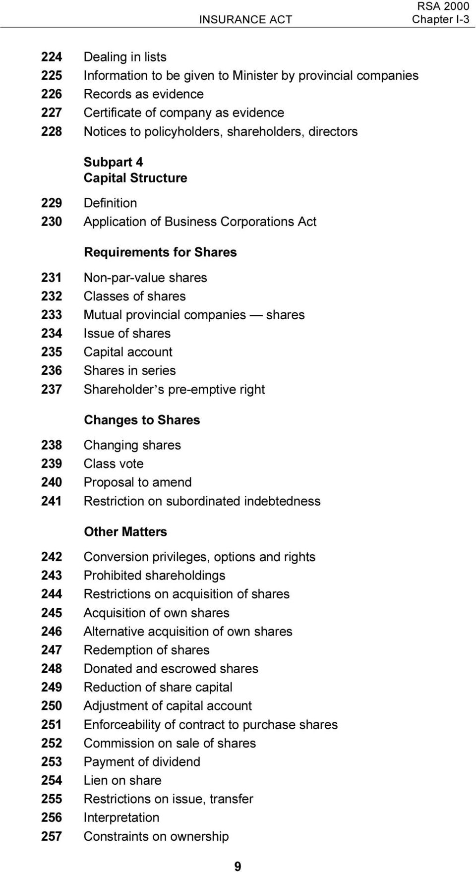 233 Mutual provincial companies shares 234 Issue of shares 235 Capital account 236 Shares in series 237 Shareholder s pre-emptive right Changes to Shares 238 Changing shares 239 Class vote 240