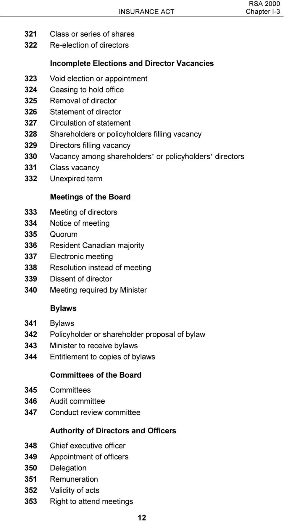 directors 331 Class vacancy 332 Unexpired term Meetings of the Board 333 Meeting of directors 334 Notice of meeting 335 Quorum 336 Resident Canadian majority 337 Electronic meeting 338 Resolution