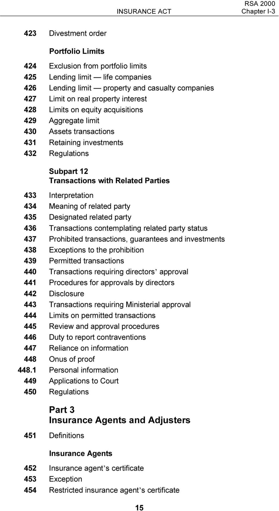 Interpretation 434 Meaning of related party 435 Designated related party 436 Transactions contemplating related party status 437 Prohibited transactions, guarantees and investments 438 Exceptions to