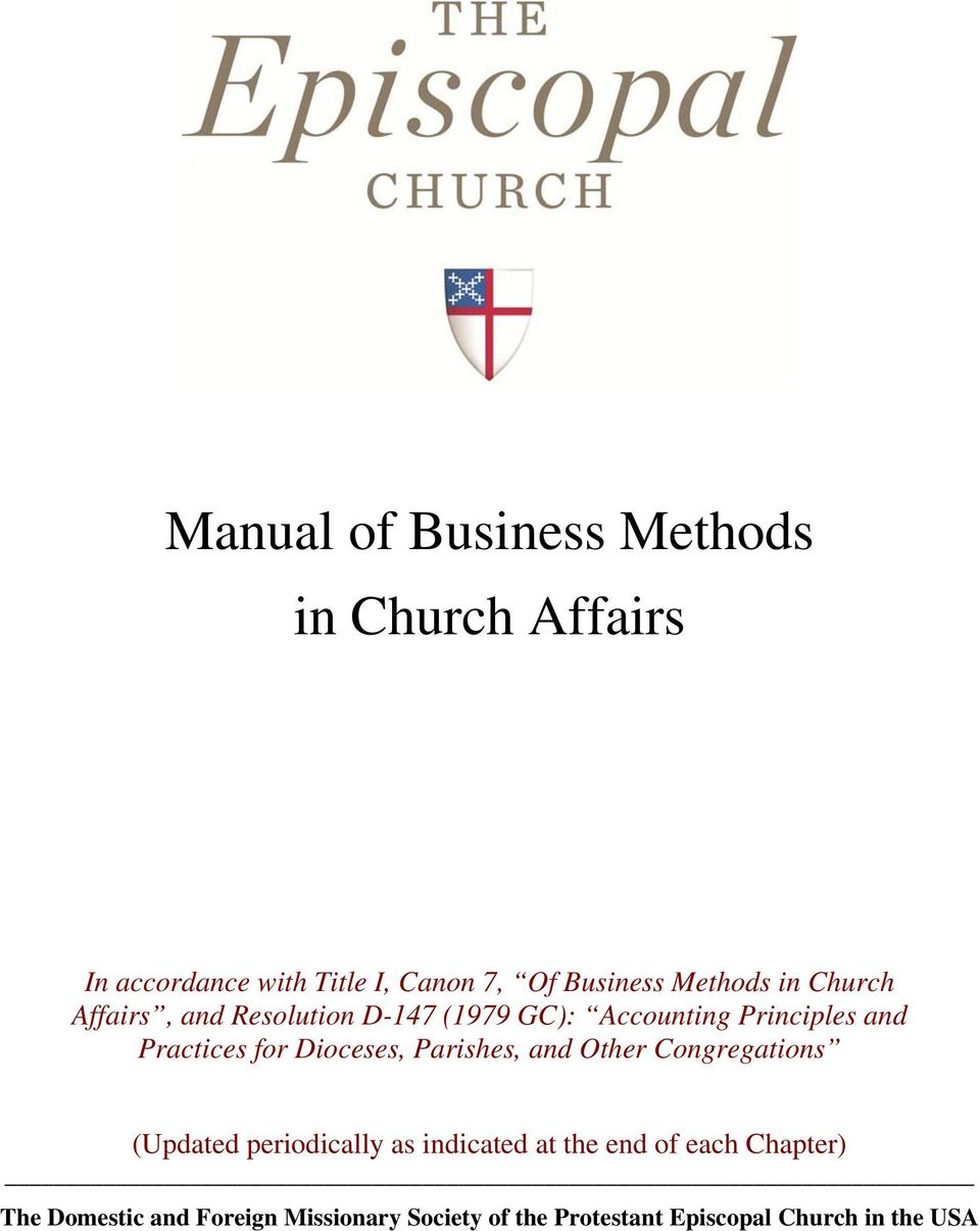 for Dioceses, Parishes, and Other Congregations (Updated periodically as indicated at the end of