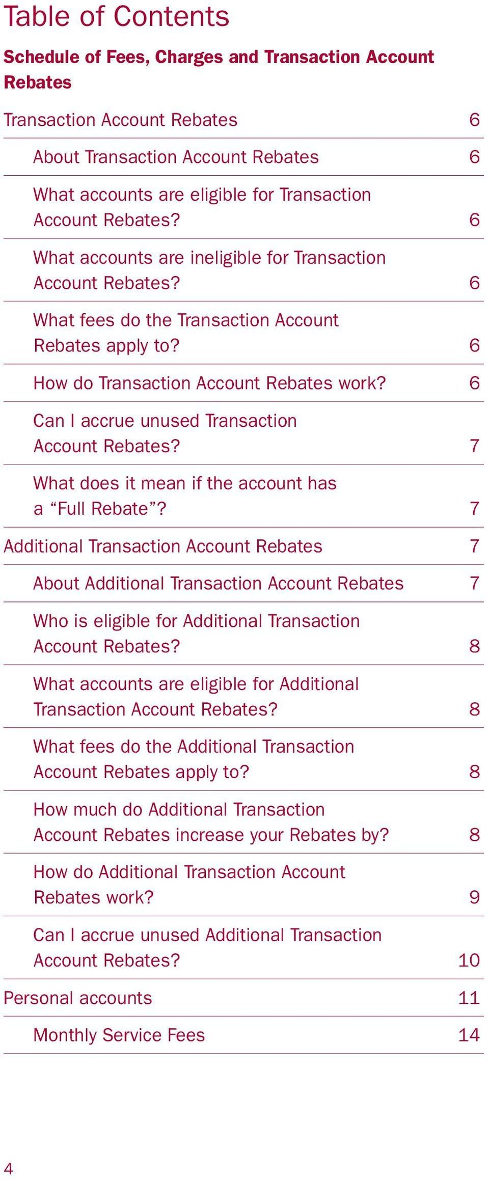6 Can I accrue unused Transaction Account Rebates? 7 What does it mean if the account has a Full Rebate?