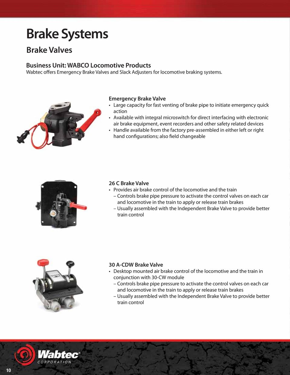 event recorders and other safety related devices Handle available from the factory pre-assembled in either left or right hand configurations; also field changeable 26 C Brake Valve Provides air brake