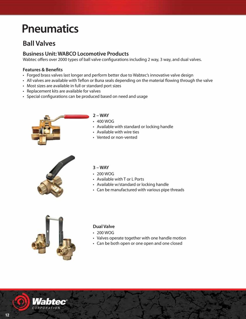 through the valve Most sizes are available in full or standard port sizes Replacement kits are available for valves Special configurations can be produced based on need and usage 2 WAY 400 WOG