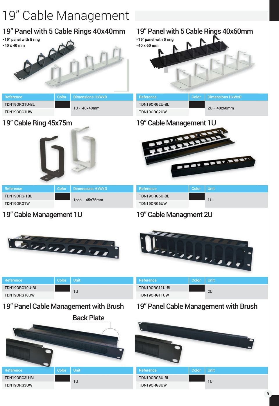 TDN19ORG-1BL 1pcs - 45x75mm TDN19ORG1W 19 Cable Management 1U Reference Color Unit TDN19ORG6U-BL 1U TDN19ORG6UW 19 Cable Managment 2U Reference Color Unit TDN19ORG10U-BL 1U TDN19ORG10UW Reference