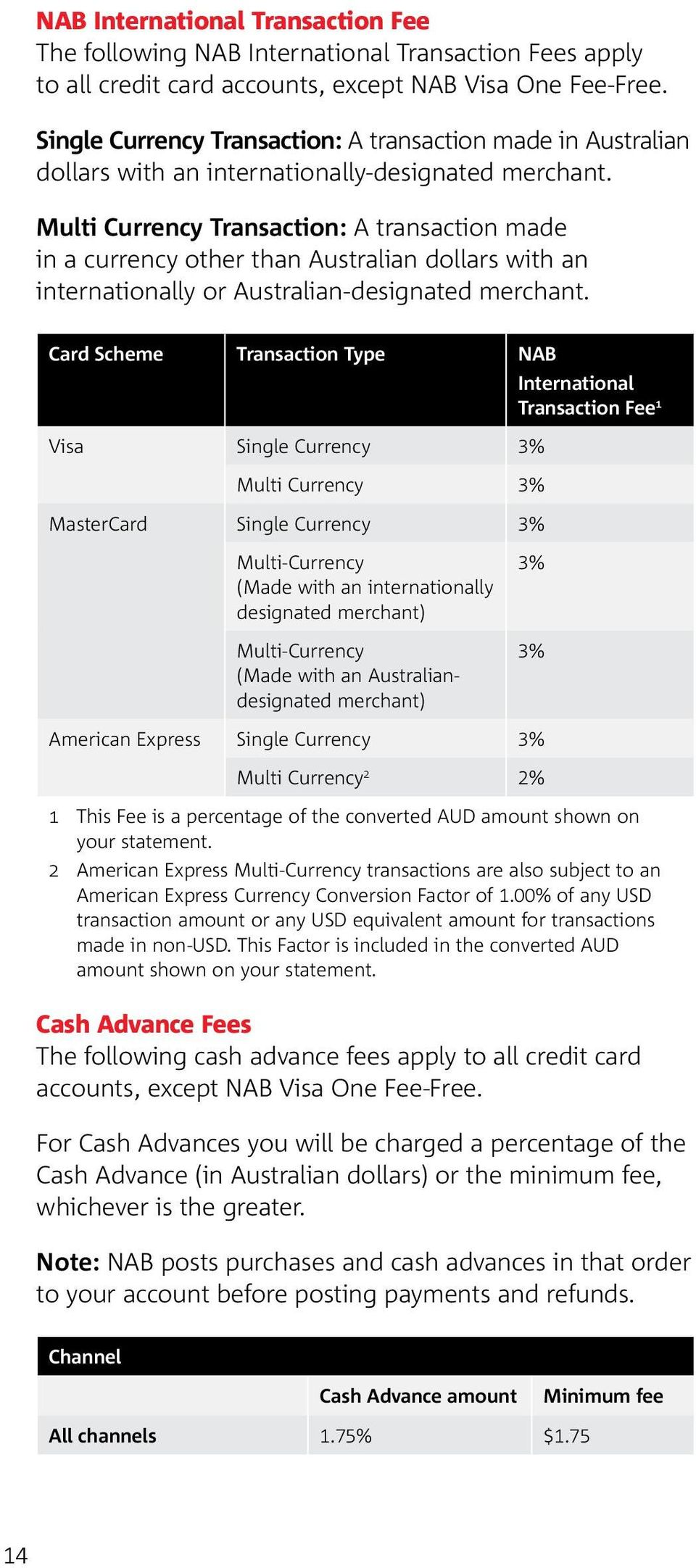 Multi Currency Transaction: A transaction made in a currency other than Australian dollars with an internationally or Australian-designated merchant.