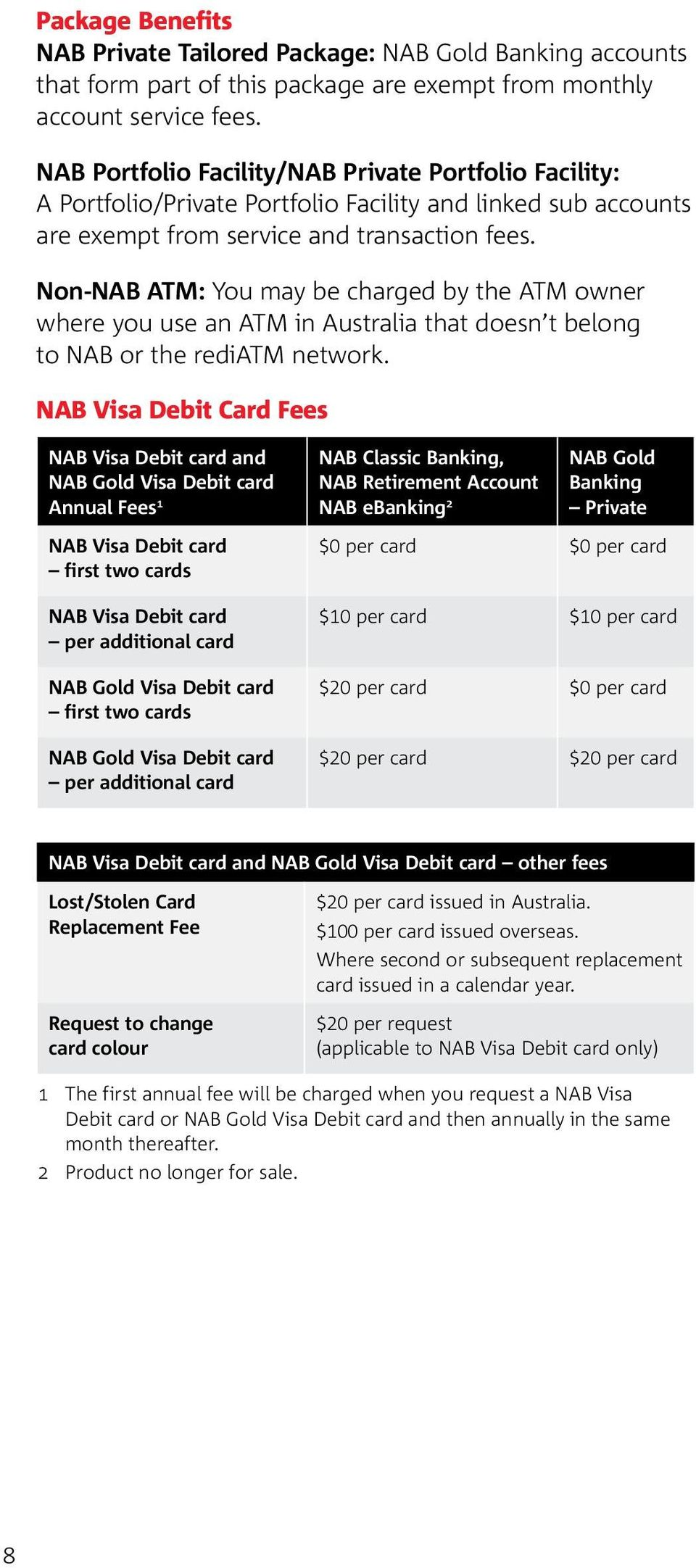 Non-NAB ATM: You may be charged by the ATM owner where you use an ATM in Australia that doesn t belong to NAB or the rediatm network.