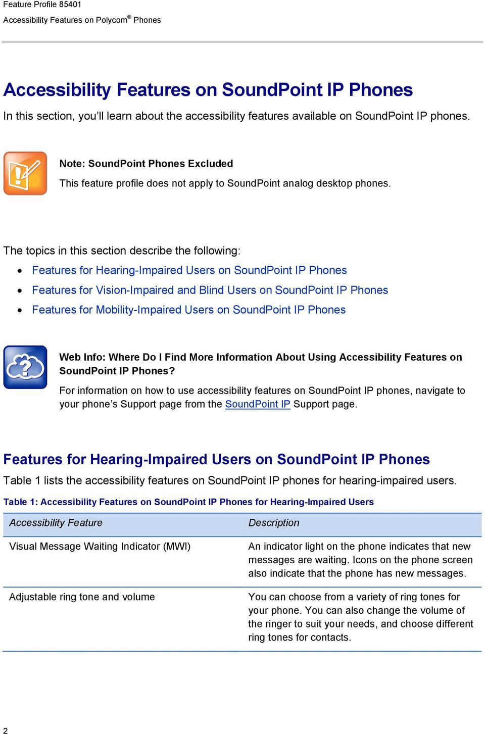 The topics in this section describe the following: Features for Hearing-Impaired Users on SoundPoint IP Phones Features for Vision-Impaired and Blind Users on SoundPoint IP Phones Features for