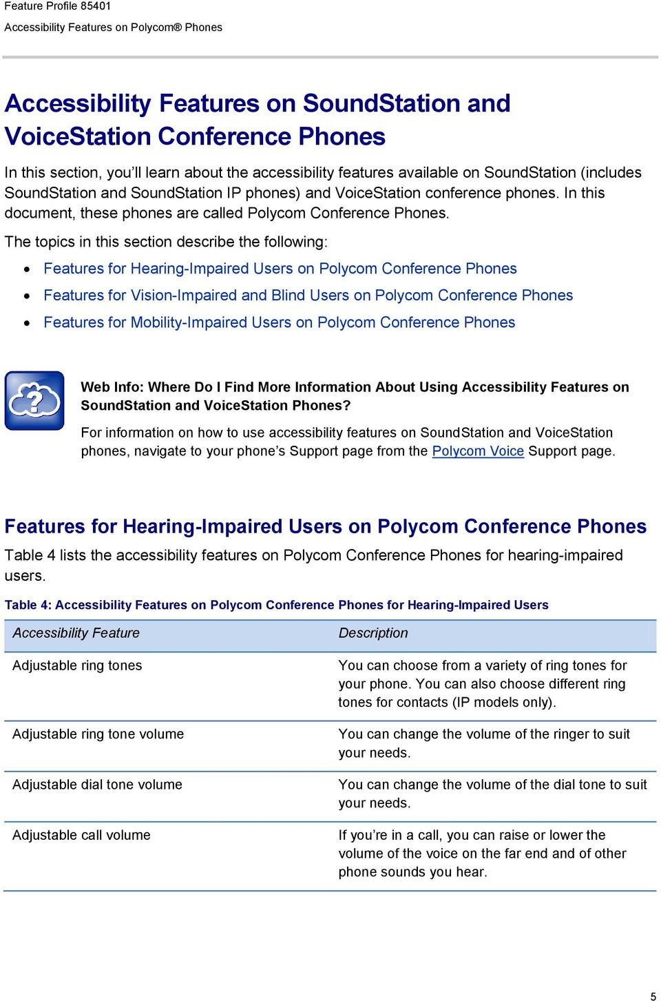 The topics in this section describe the following: Features for Hearing-Impaired Users on Polycom Conference Phones Features for Vision-Impaired and Blind Users on Polycom Conference Phones Features