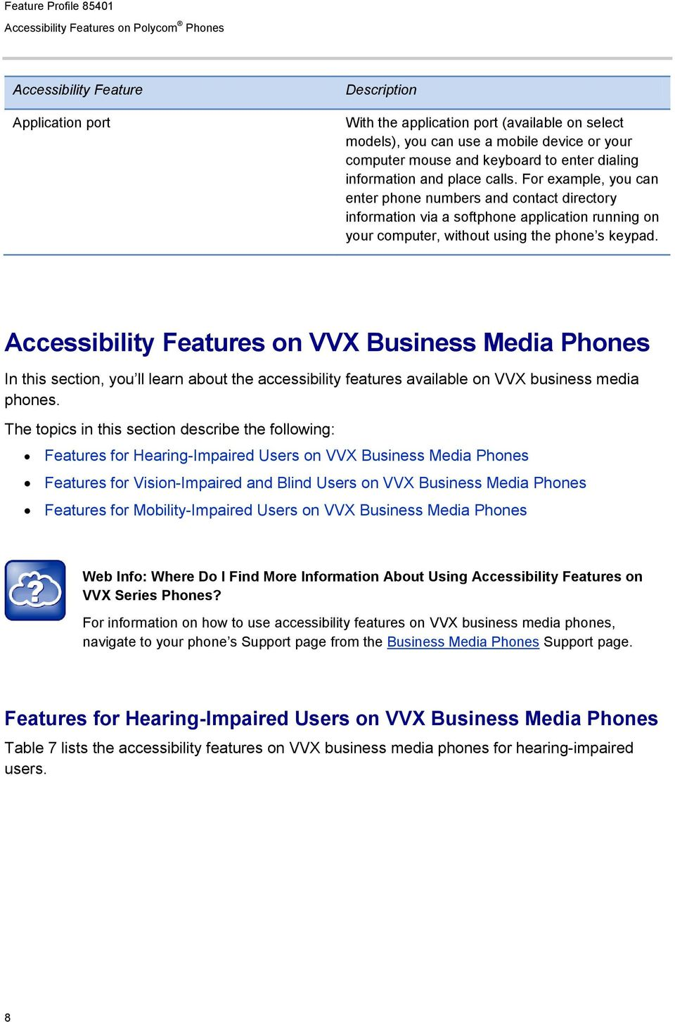 s on VVX Business Media Phones In this section, you ll learn about the accessibility features available on VVX business media phones.