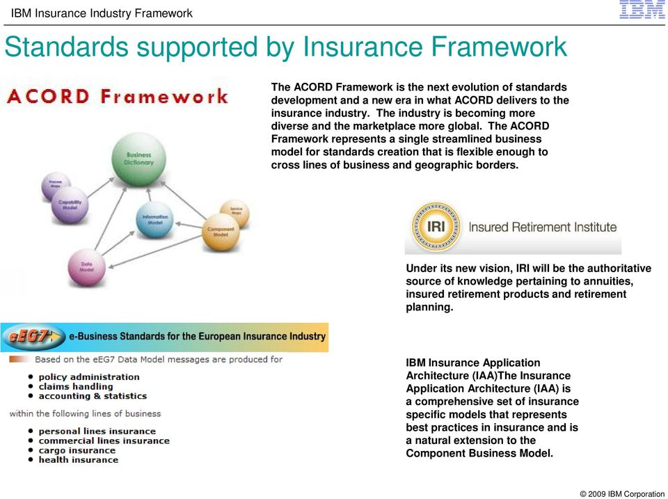 The ACORD Framework represents a single streamlined business model for standards creation that is flexible enough to cross lines of business and geographic borders.