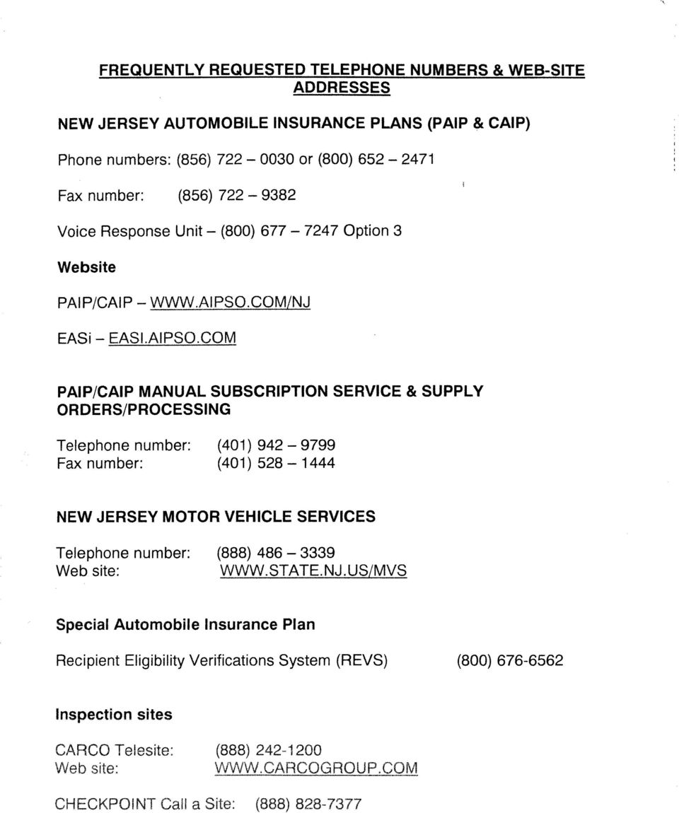 New Jersey. Commercial And Personal Automobile Insurance