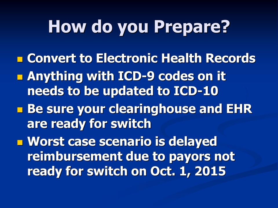 it needs to be updated to ICD-10 Be sure your clearinghouse and EHR