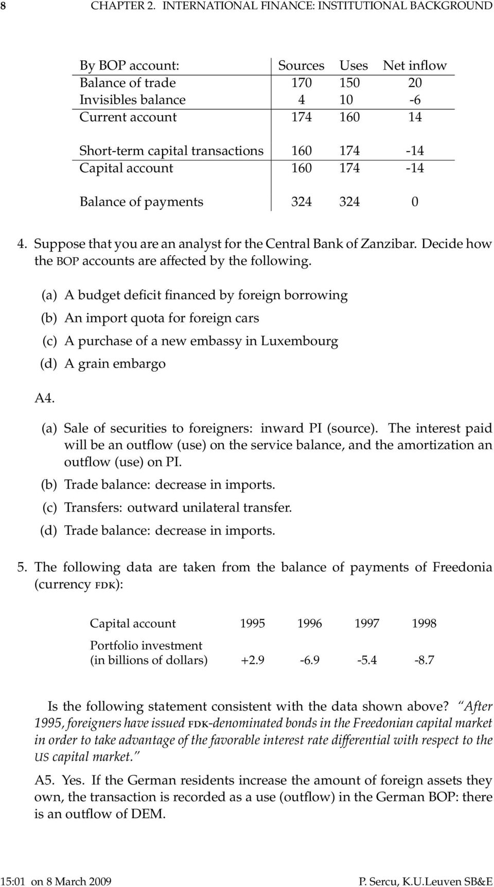 transactions 160 174-14 Capital account 160 174-14 Balance of payments 324 324 0 4. Suppose that you are an analyst for the Central Bank of Zanzibar.