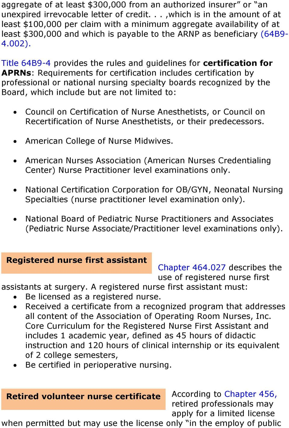 Title 64B9-4 provides the rules and guidelines for certification for APRNs: Requirements for certification includes certification by professional or national nursing specialty boards recognized by