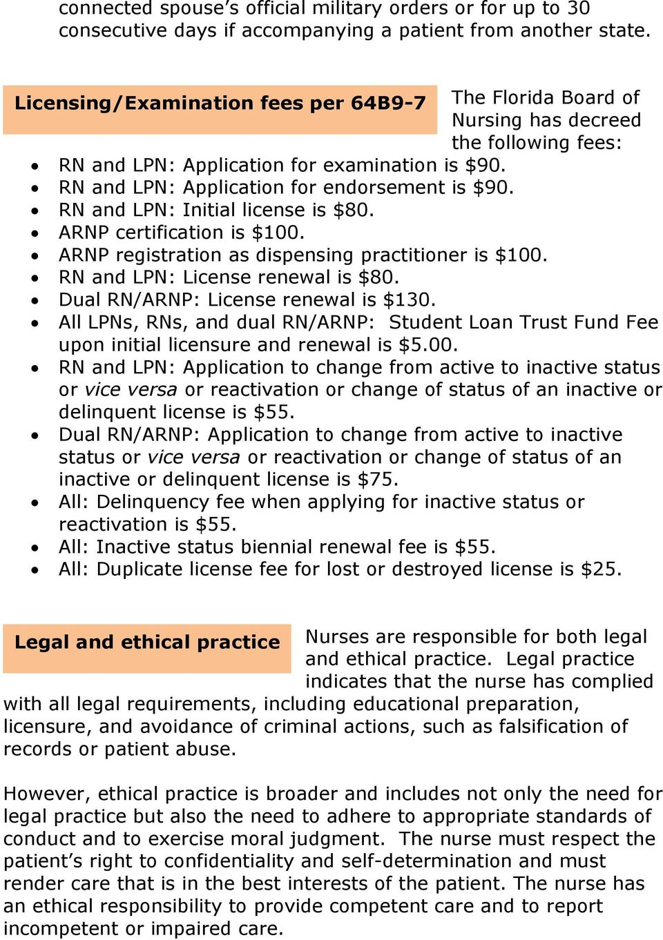 RN and LPN: Initial license is $80. ARNP certification is $100. ARNP registration as dispensing practitioner is $100. RN and LPN: License renewal is $80. Dual RN/ARNP: License renewal is $130.