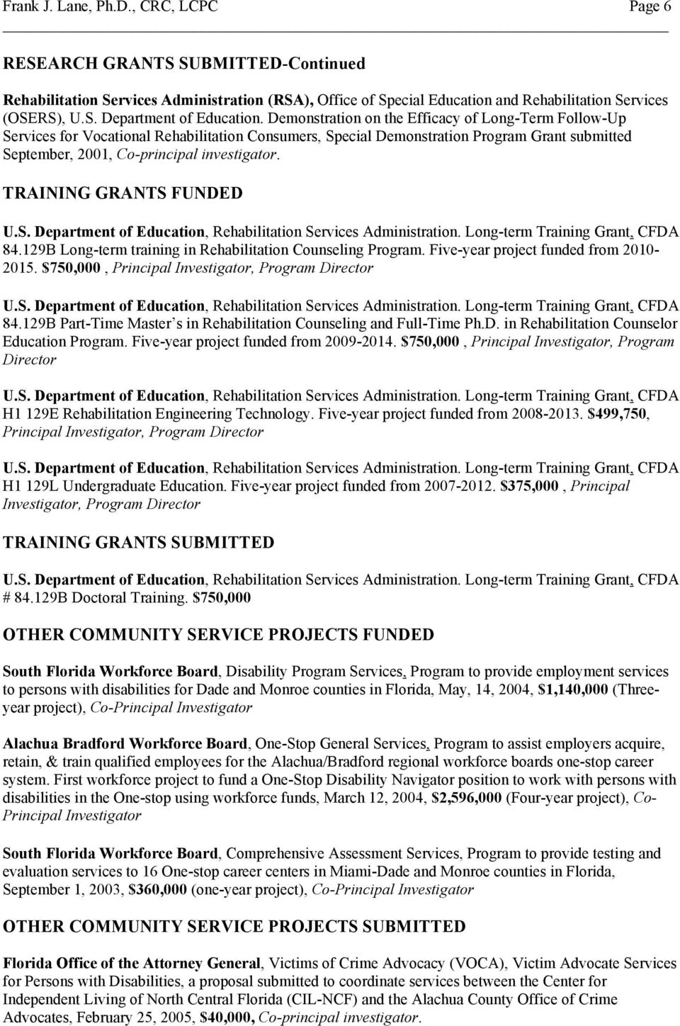TRAINING GRANTS FUNDED U.S. Department of Education, Rehabilitation Services Administration. Long-term Training Grant, CFDA 84.129B Long-term training in Rehabilitation Counseling Program.