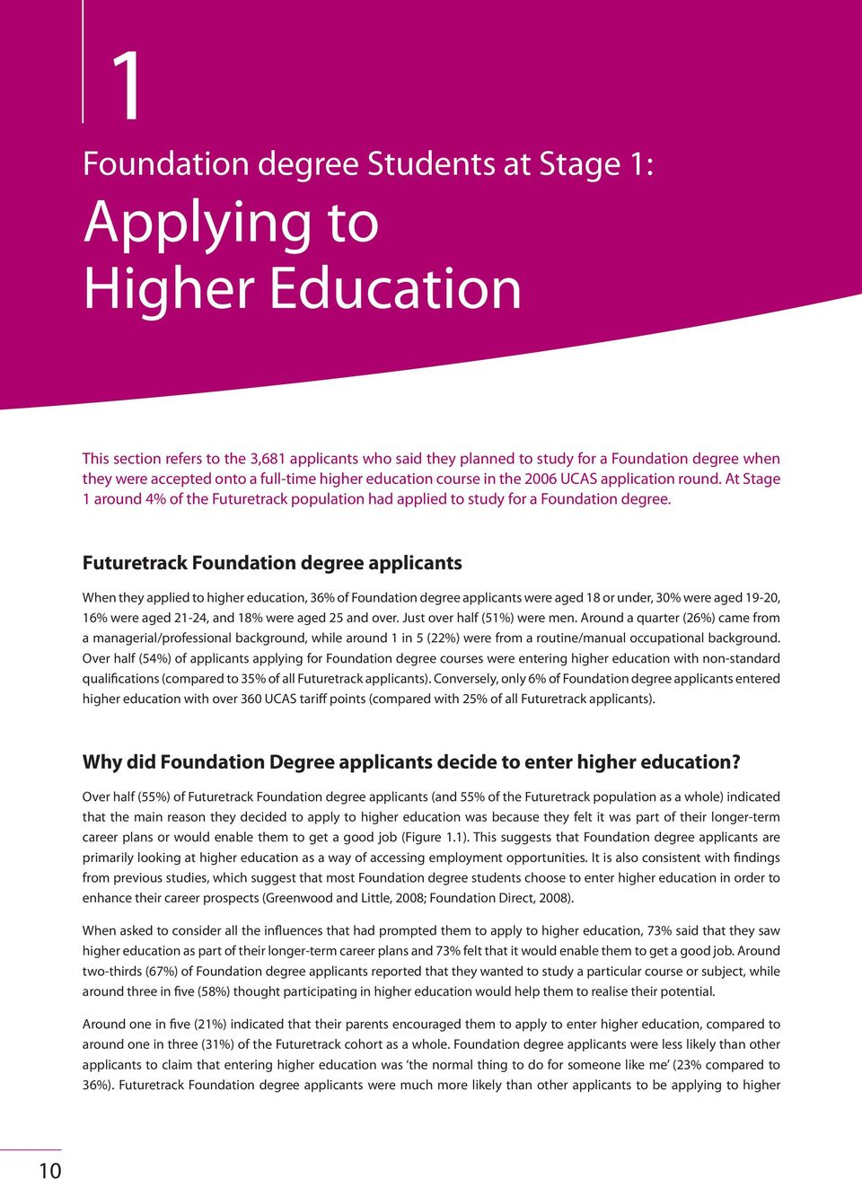 Futuretrack Foundation degree applicants When they applied to higher education, 36% of Foundation degree applicants were aged 18 or under, 30% were aged 19-20, 16% were aged 21-24, and 18% were aged