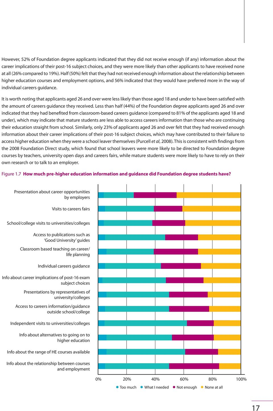 Half (50%) felt that they had not received enough information about the relationship between higher education courses and employment options, and 56% indicated that they would have preferred more in
