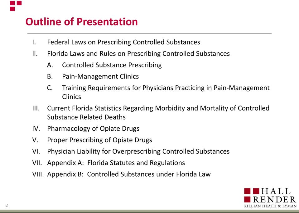 Current Florida Statistics Regarding Morbidity and Mortality of Controlled Substance Related Deaths IV. Pharmacology of Opiate Drugs V.