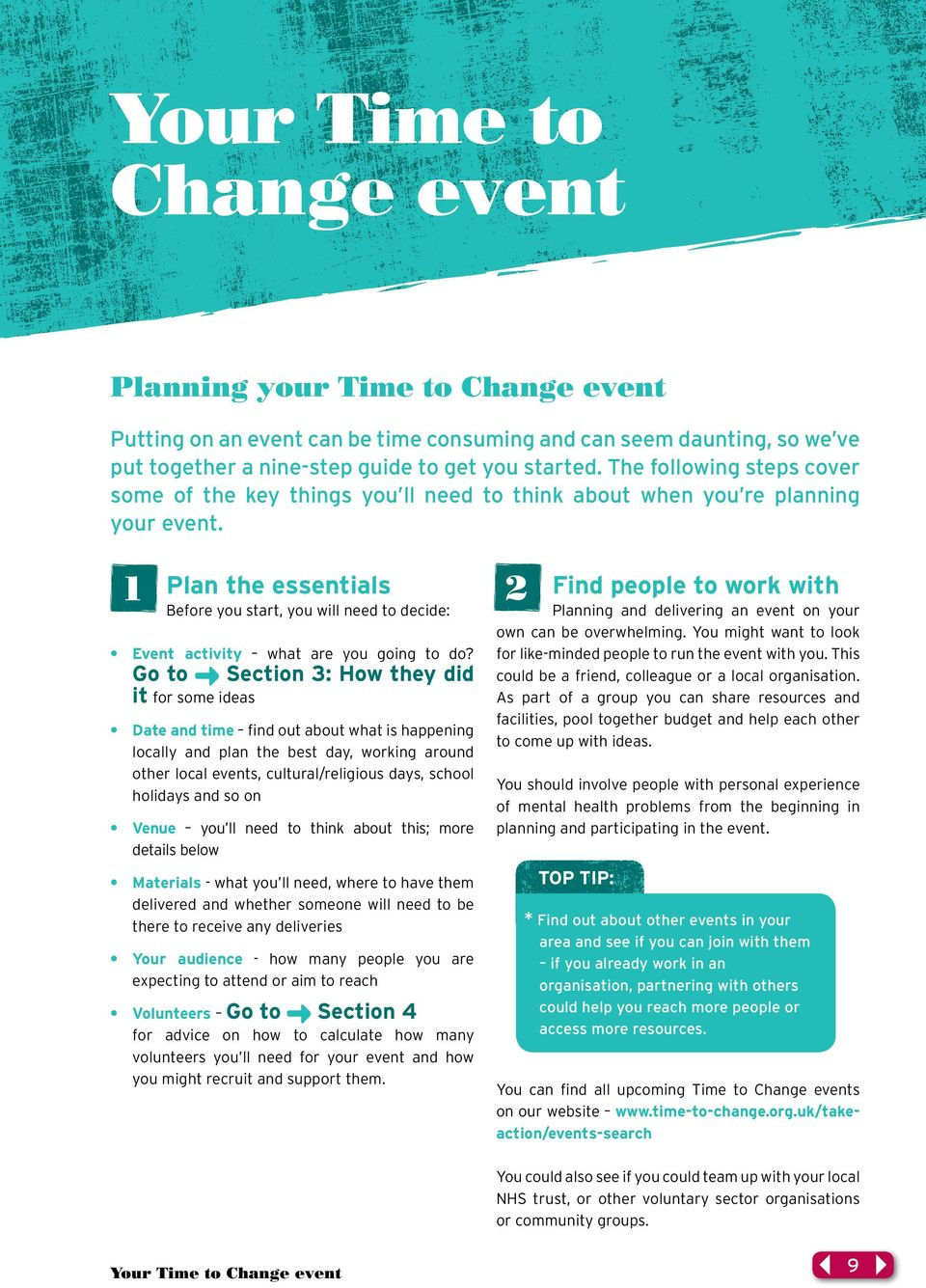 1 Plan the essentials 2 Before you start, you will need to decide: Event activity what are you going to do?