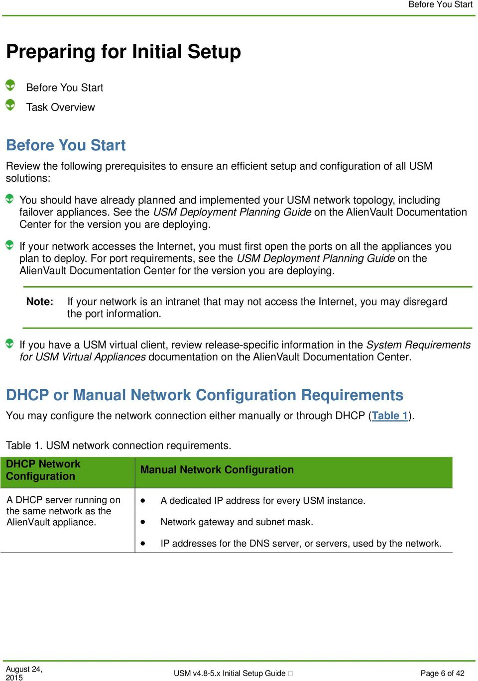 See the USM Deployment Planning Guide on the AlienVault Documentation Center for the version you are deploying.