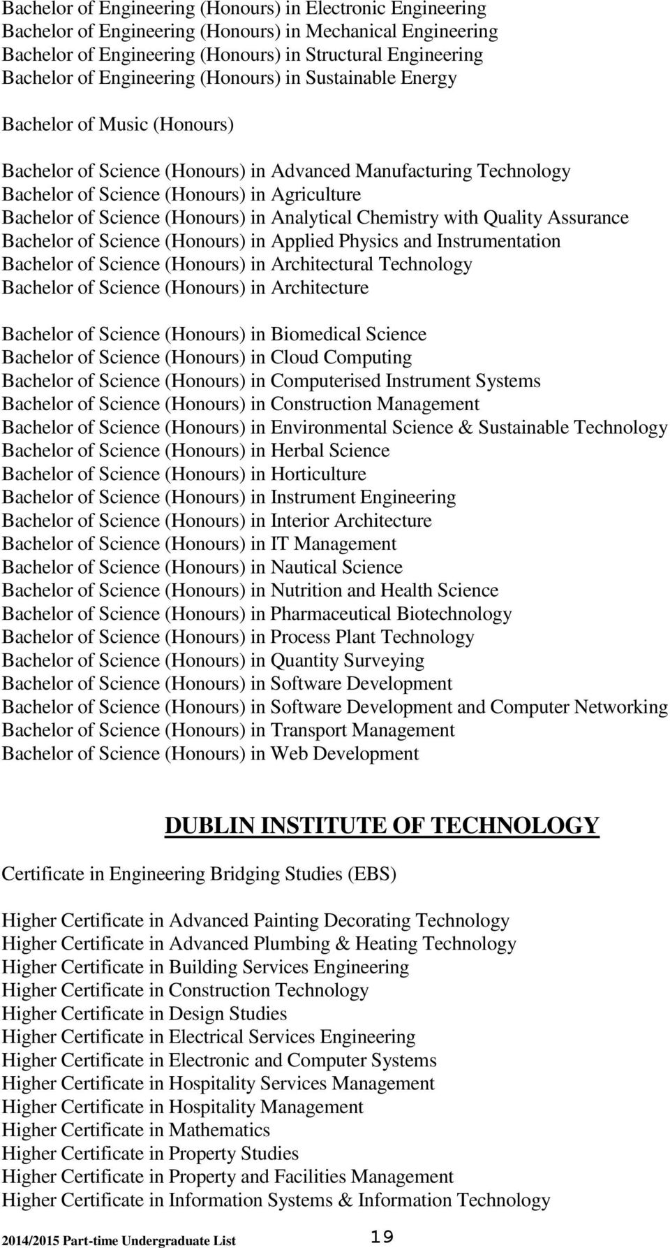 Science (Honours) in Analytical Chemistry with Quality Assurance Bachelor of Science (Honours) in Applied Physics and Instrumentation Bachelor of Science (Honours) in Architectural Technology