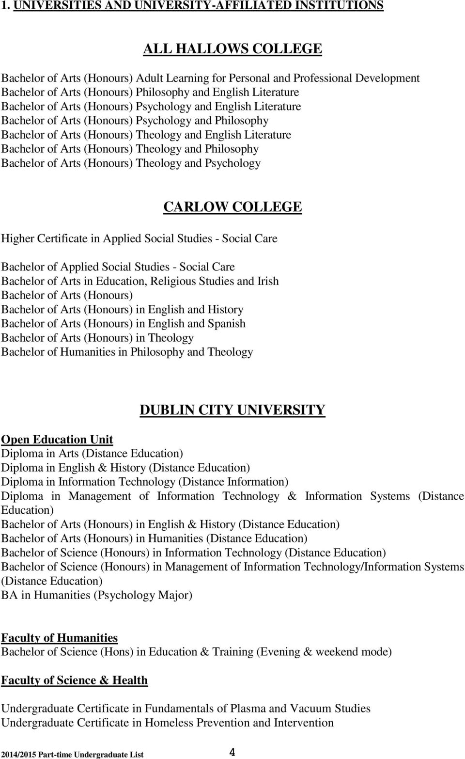 Bachelor of Arts (Honours) Theology and Philosophy Bachelor of Arts (Honours) Theology and Psychology CARLOW COLLEGE Higher Certificate in Applied Social Studies - Social Care Bachelor of Applied