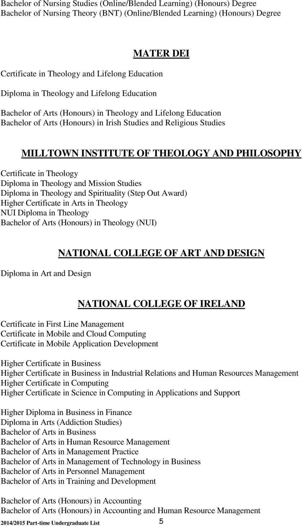 OF THEOLOGY AND PHILOSOPHY Certificate in Theology Diploma in Theology and Mission Studies Diploma in Theology and Spirituality (Step Out Award) Higher Certificate in Arts in Theology NUI Diploma in