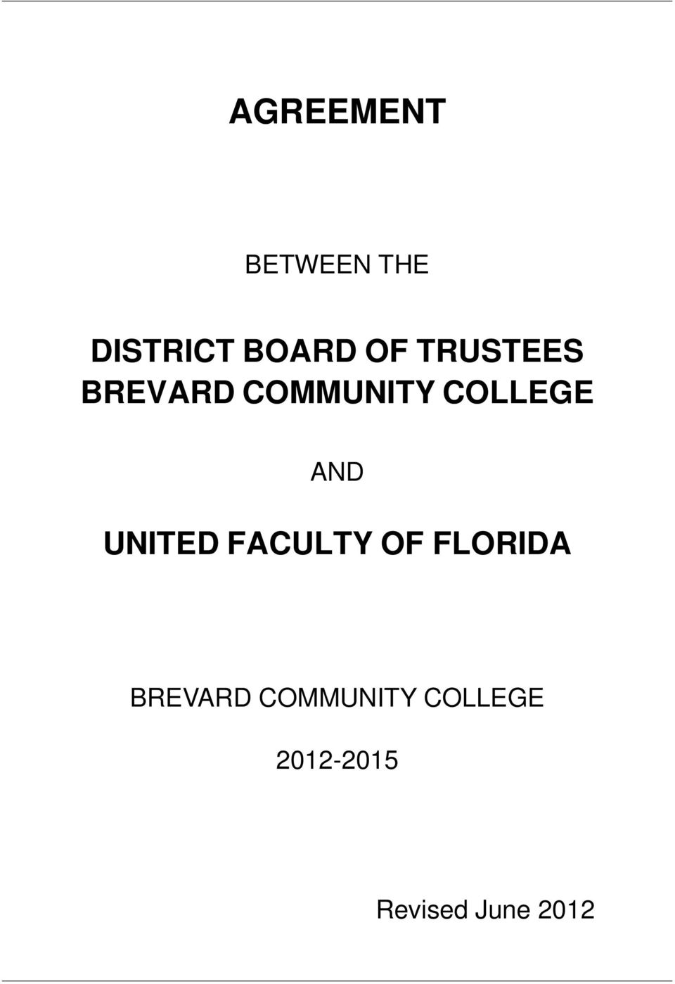 UNITED FACULTY OF FLORIDA BREVARD
