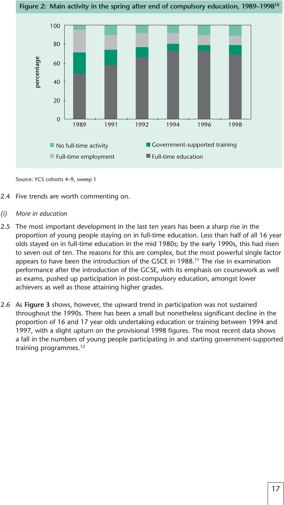 5 The most important development in the last ten years has been a sharp rise in the proportion of young people staying on in full-time education.