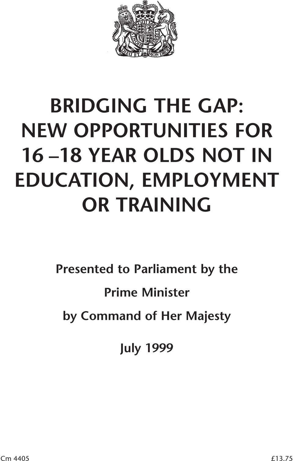 TRAINING Presented to Parliament by the Prime