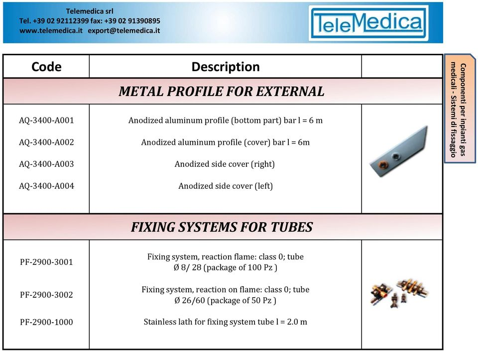 Sistemi di fissaggio FIXING SYSTEMS FOR TUBES PF-2900-3001 PF-2900-3002 PF-2900-1000 Fixing system, reaction flame: class 0; tube Ø 8/ 28