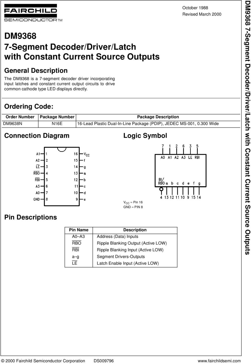 Ordering Code: Connection Diagram Pin Descriptions Logic Symbol V CC = Pin 16 GND = PIN 8 October 1988 Revised March 2000 Order Number Package Number Package Description DM9638N N16E 16-Lead Plastic