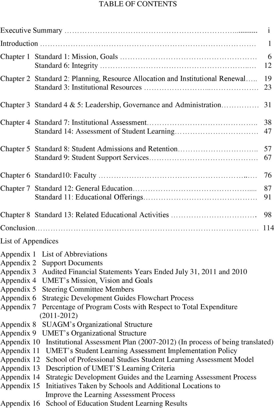 . 38 Standard 14: Assessment of Student Learning 47 Chapter 5 Standard 8: Student Admissions and Retention.. 57 Standard 9: Student Support Services. 67 Chapter 6 Standard10: Faculty.