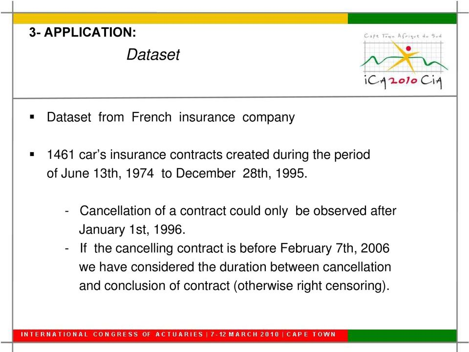 - Cancellation of a contract could only be observed after January 1st, 1996.