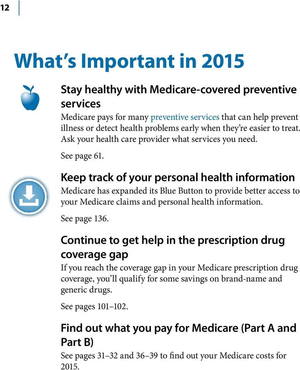 Keep track of your personal health information Medicare has expanded its Blue Button to provide better access to your Medicare claims and personal health information. See page 136.