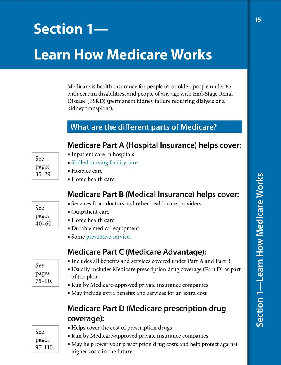 Medicare Part A (Hospital Insurance) helps cover: Inpatient care in hospitals Skilled nursing facility care Hospice care Home health care Medicare Part B (Medical Insurance) helps cover: Services