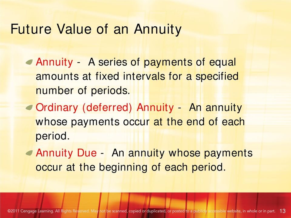 Ordinary (deferred) Annuity - An annuity whose payments occur at the end