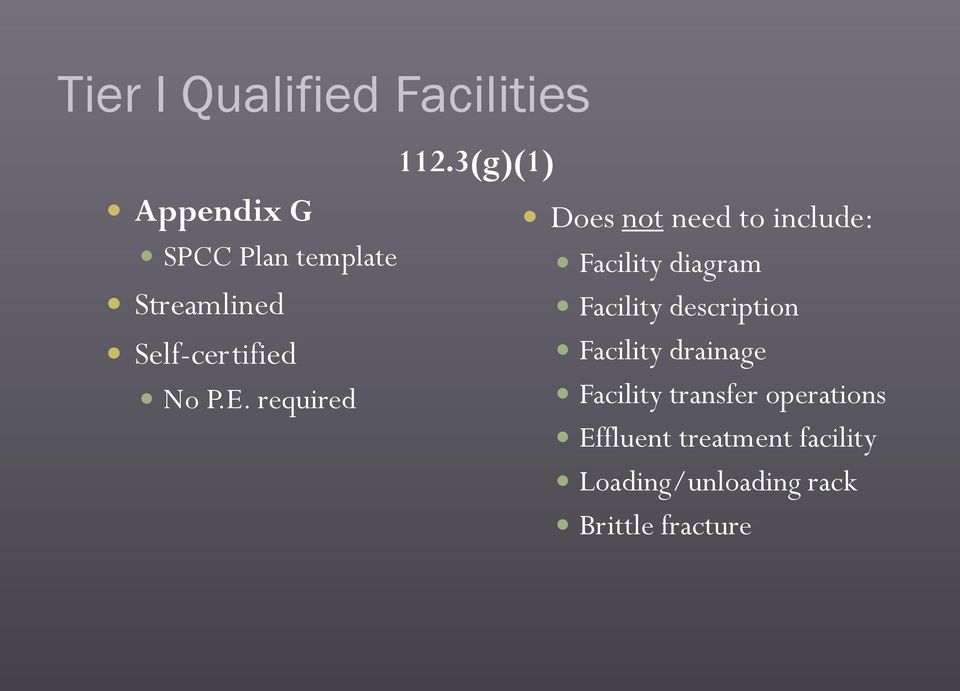 3(g)(1) Does not need to include: Facility diagram Facility description