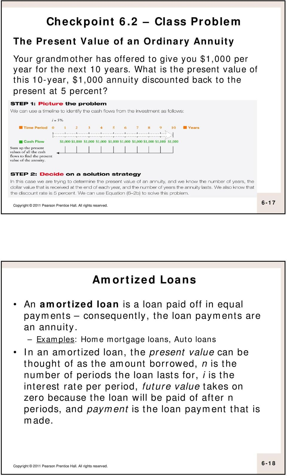 6-17 Amortized Loans An amortized loan is a loan paid off in equal payments consequently, the loan payments are an annuity.