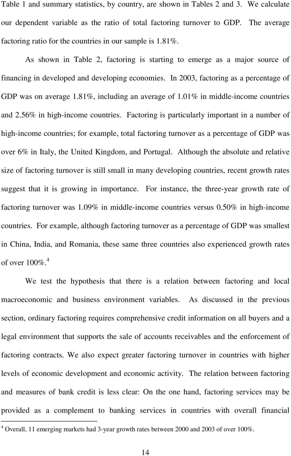 In 2003, factoring as a percentage of GDP was on average 1.81%, including an average of 1.01% in middle-income countries and 2.56% in high-income countries.