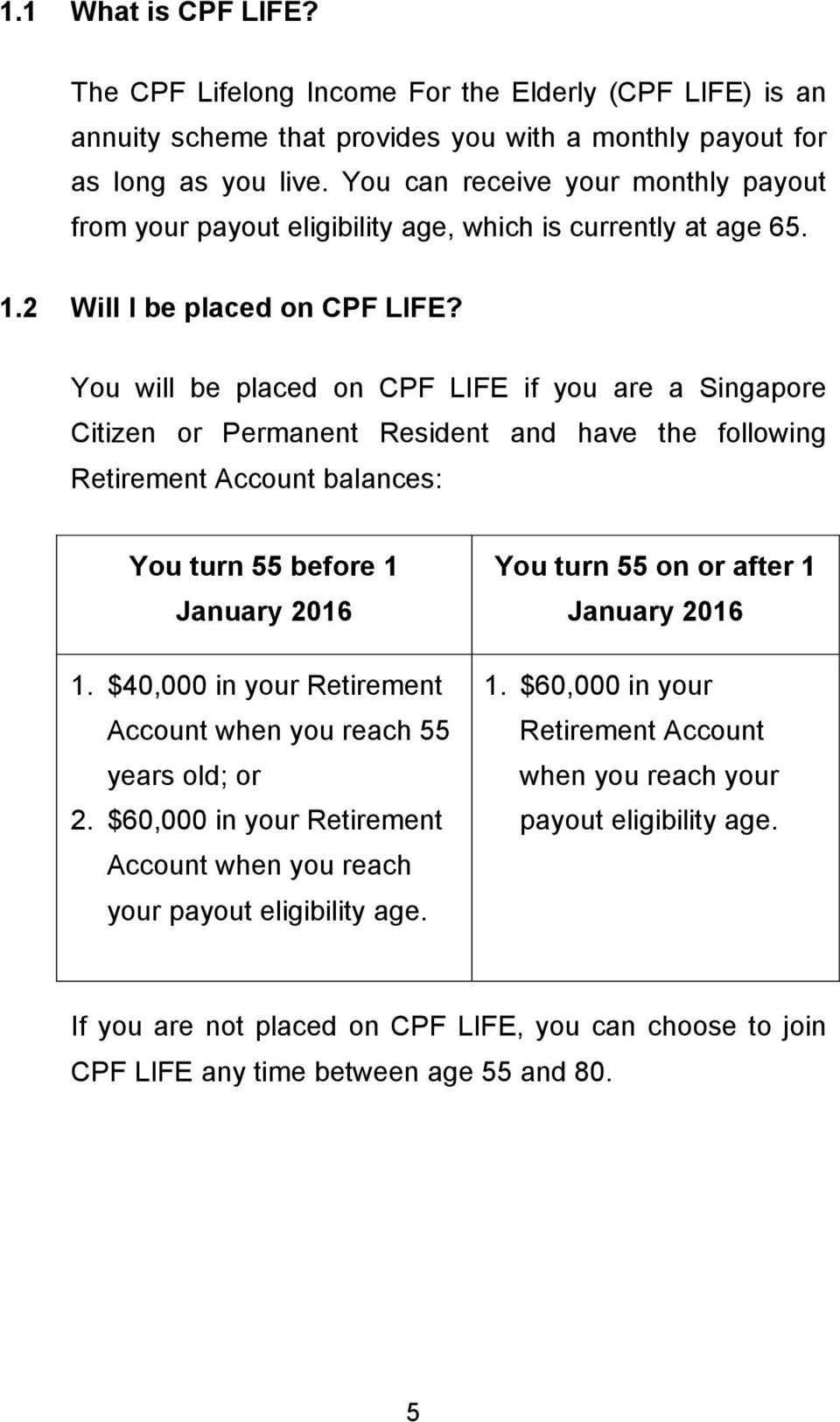 You will be placed on CPF LIFE if you are a Singapore Citizen or Permanent Resident and have the following Retirement Account balances: You turn 55 before 1 January 2016 1.