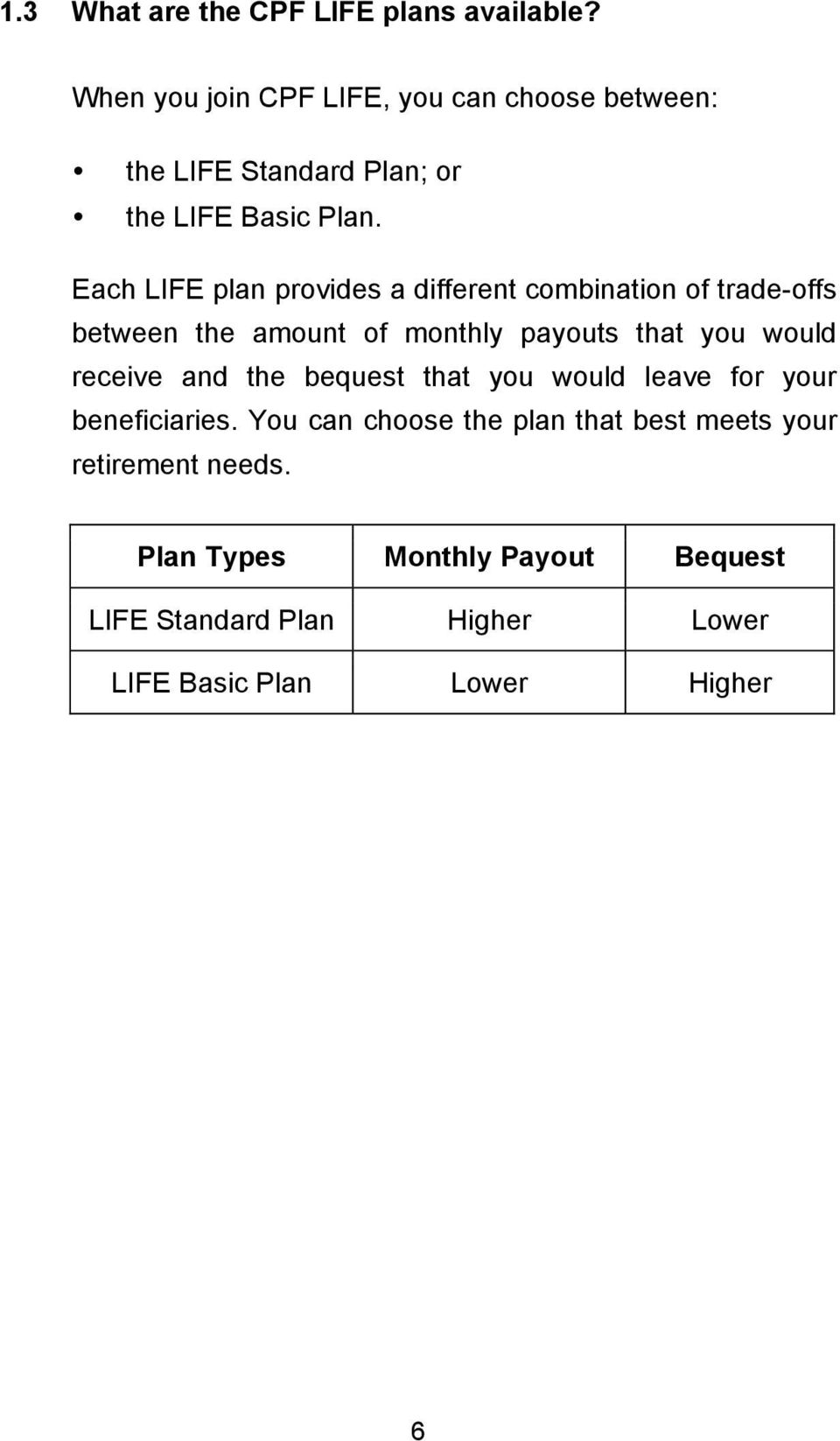 Each LIFE plan provides a different combination of trade-offs between the amount of monthly payouts that you would