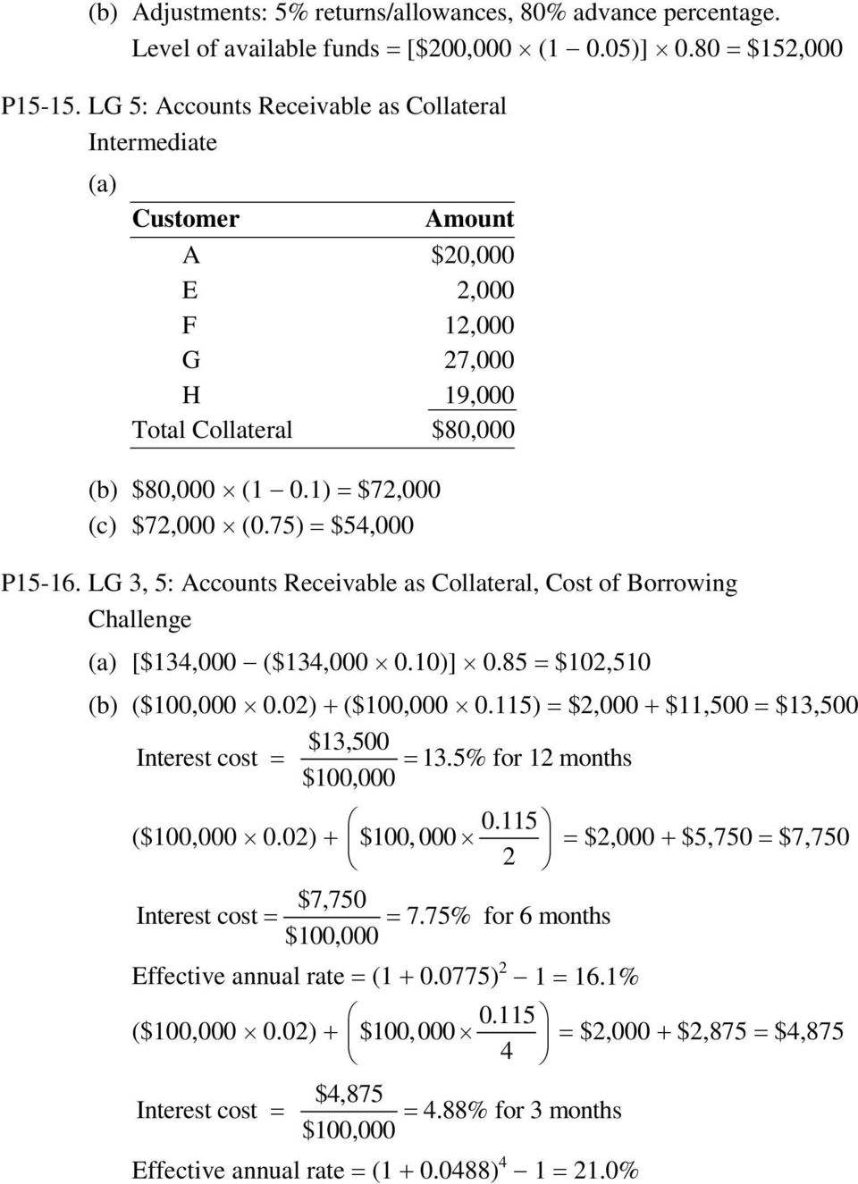 LG 3, 5: Accounts Receivable as Collateral, Cost of Borrowing Challenge [$134,000 ($134,000 0.10)] 0.85 = $102,510 (b) ($100,000 0.02) + ($100,000 0.