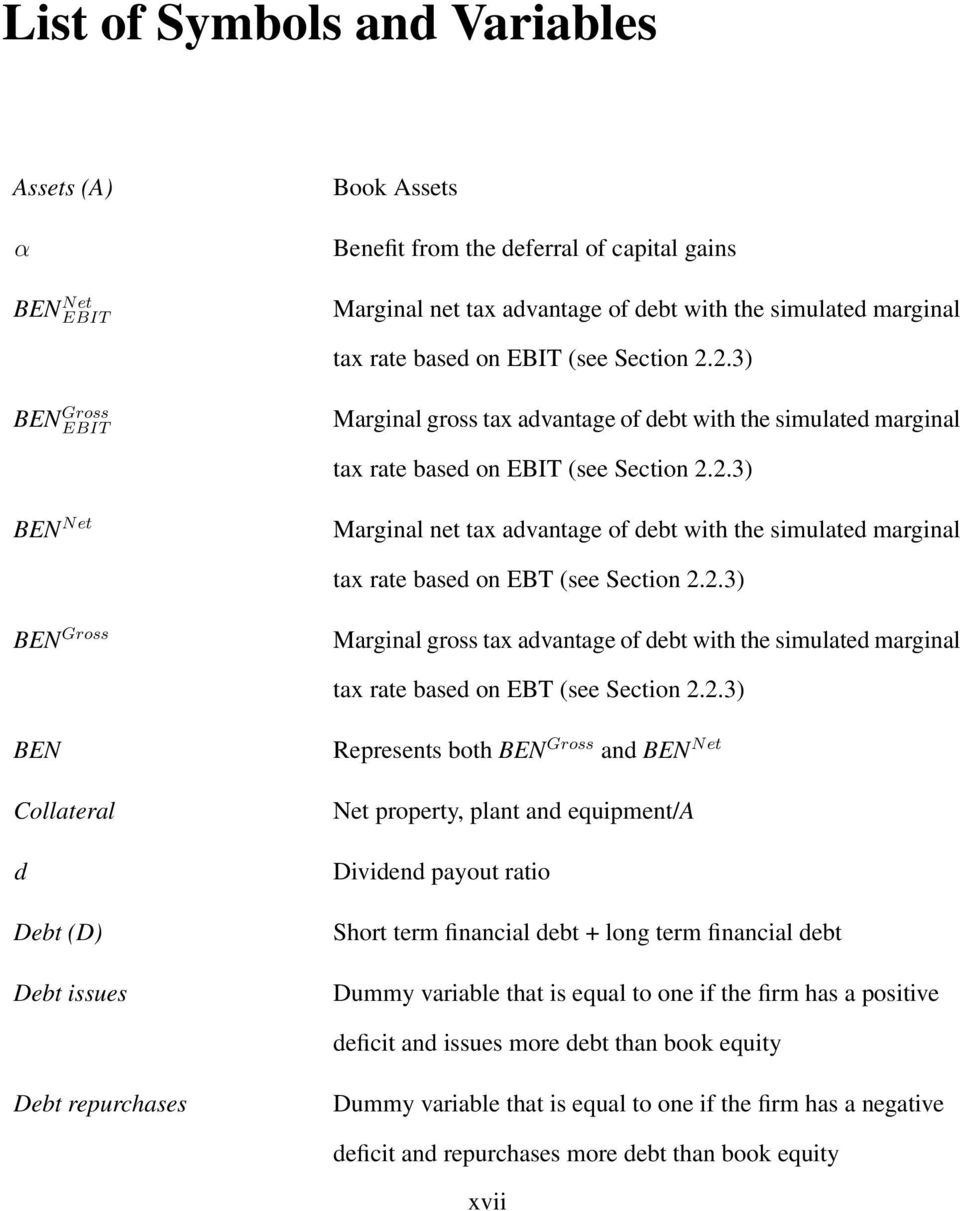 2.3) BEN Gross Marginal gross tax advantage of debt with the simulated marginal tax rate based on EBT (see Section 2.2.3) BEN Collateral d Debt (D) Debt issues Represents both BEN Gross and BEN Net