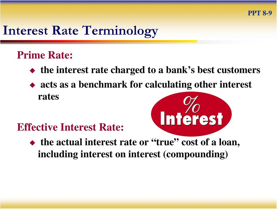 calculating other interest rates Effective Interest Rate: the actual
