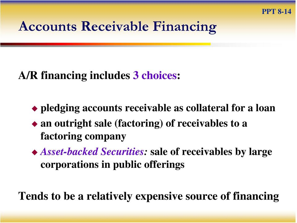 receivables to a factoring company Asset-backed Securities: sale of receivables by