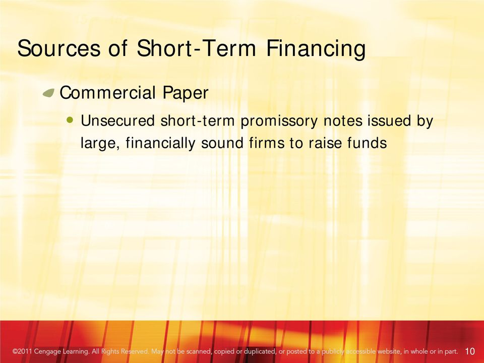 short-term promissory notes issued