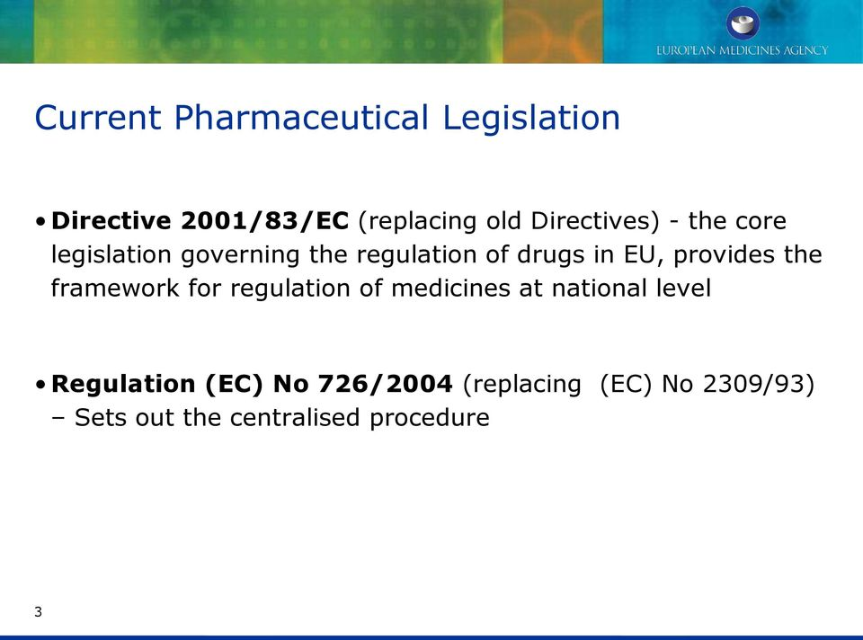 provides the framework for regulation of medicines at national level