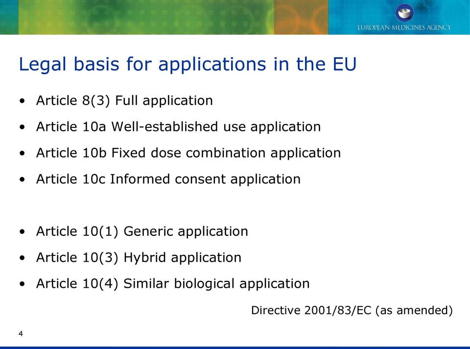 10c Informed consent application Article 10(1) Generic application Article 10(3) Hybrid